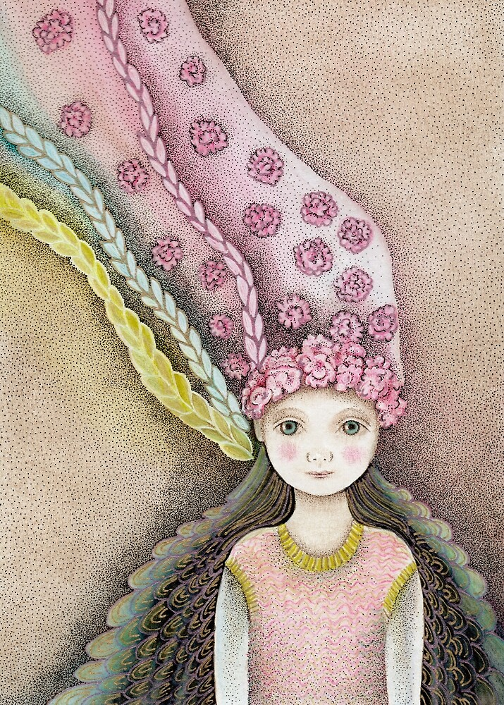 whimsical fairy girl with flower hair  by trudette
