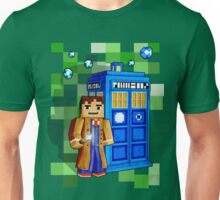 8bit blue phone box with space and time traveller Unisex T-Shirt
