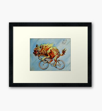 Hyena on a Bicycle Framed Print