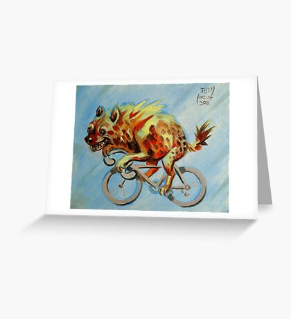 Hyena on a Bicycle Greeting Card
