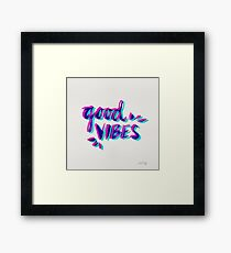 Good Vibes – Magenta & Cyan Framed Print