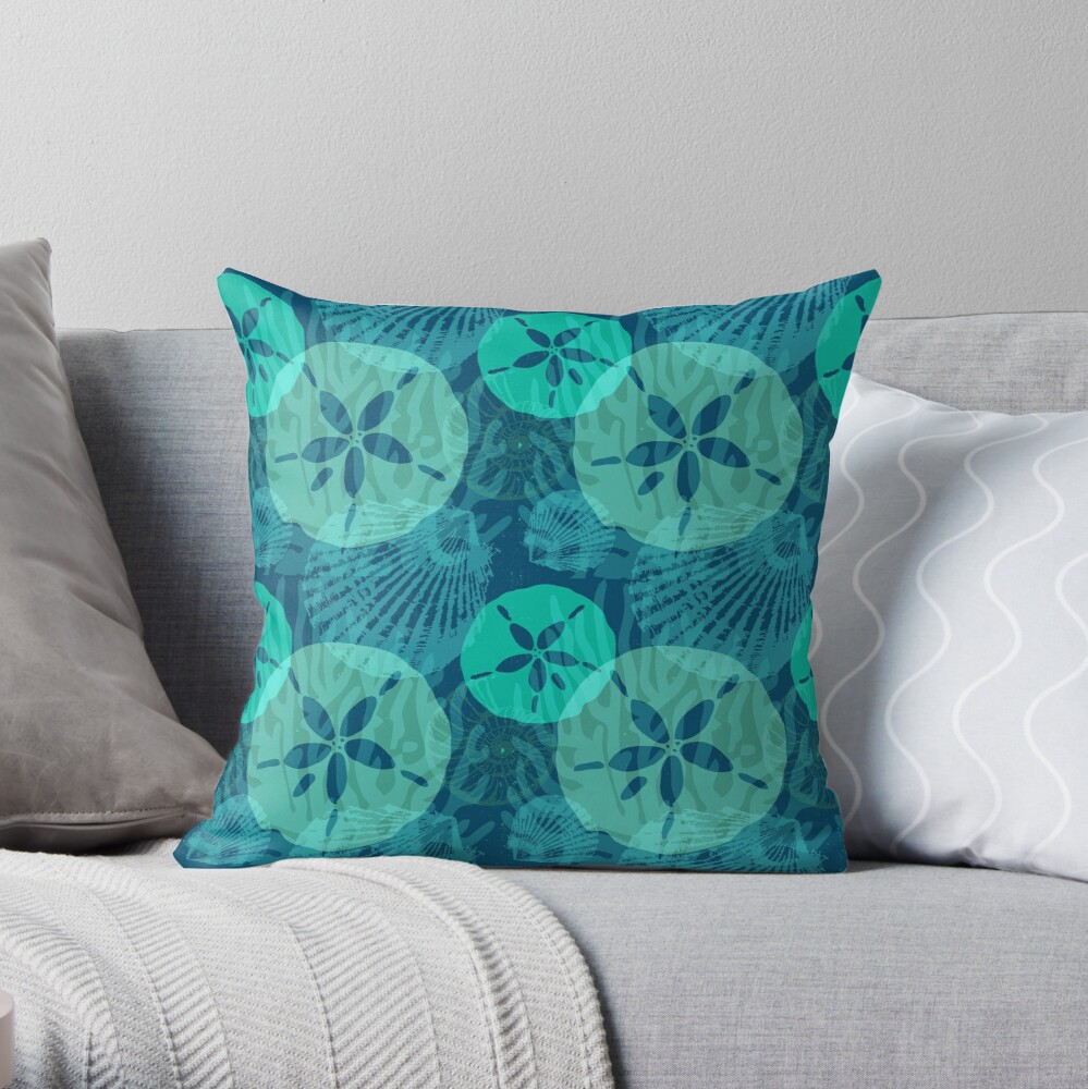 Aqua Sand Dollars and Sea Shells on Ocean Blue Throw Pillow