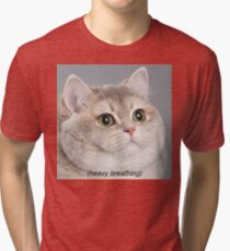 Heavy Breathing Cat Tri-blend T-Shirt