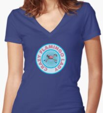 Crazy Flamingo Lady Women's Fitted V-Neck T-Shirt