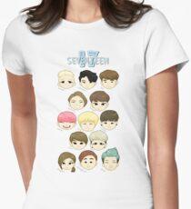 SEVENTEEN Chibi Köpfe Tailliertes T-Shirt