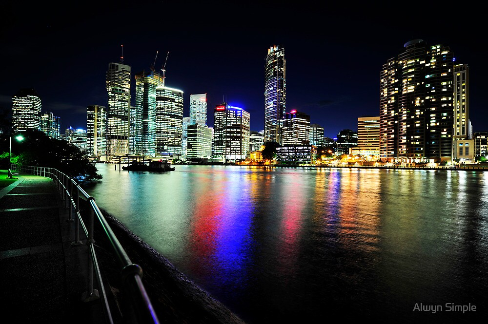 Brisbane City Lights From Captain Burke Park by Alwyn Simple