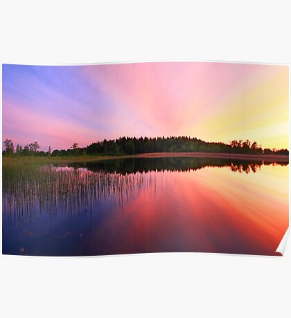 Sunset over lake Poster