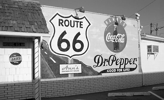 Route 66 - Mural with Shield by Frank Romeo