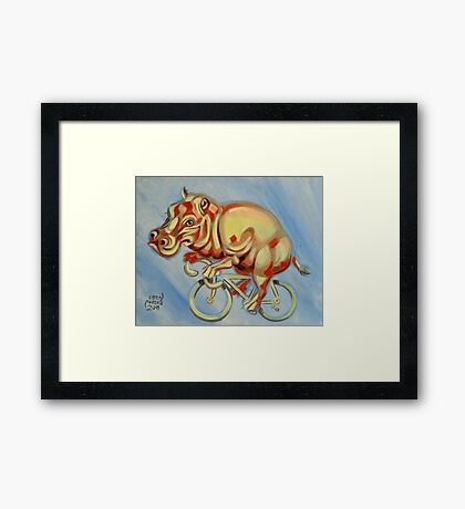 Hippopotamus On A Bicycle Framed Print