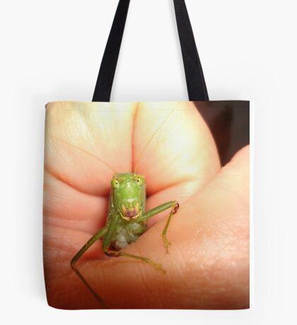 Safe in my hand...a katydid Tote Bag