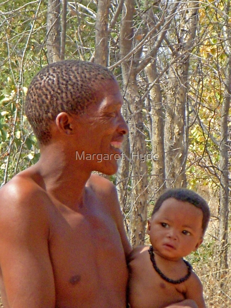 Bushman father and baby daughter, Namibia, Africa by Margaret  Hyde