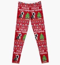 Feliz Navidog Boston Terrier Dog Ugly Christmas Leggings