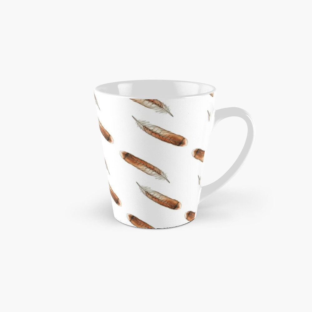 Red Tailed Hawk Feather Watercolor Tall Mug