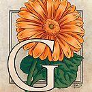 G is for Gerbera Flower Monogram Card by Stephanie Smith