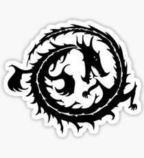 Coiled Black Dragon Sticker