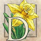 D is for Daffodil Flower Monogram Card by Stephanie Smith