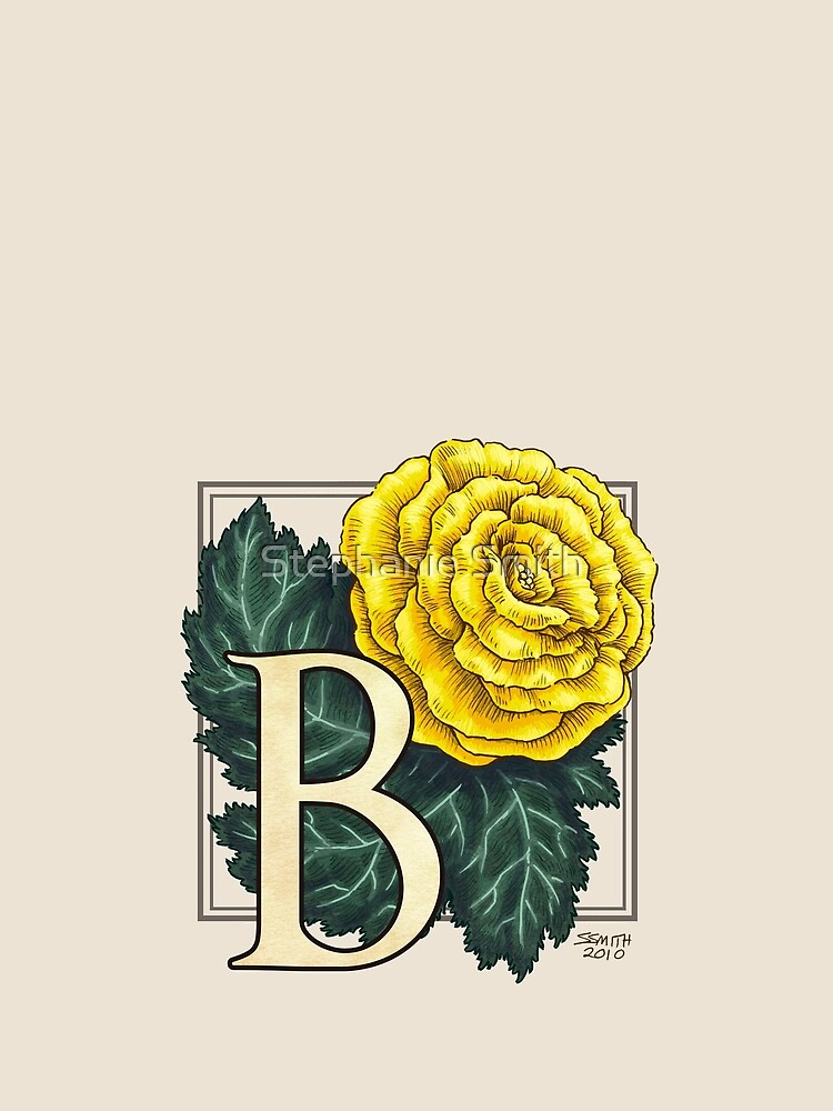 B is for Begonia Flower Monogram by stephsmith