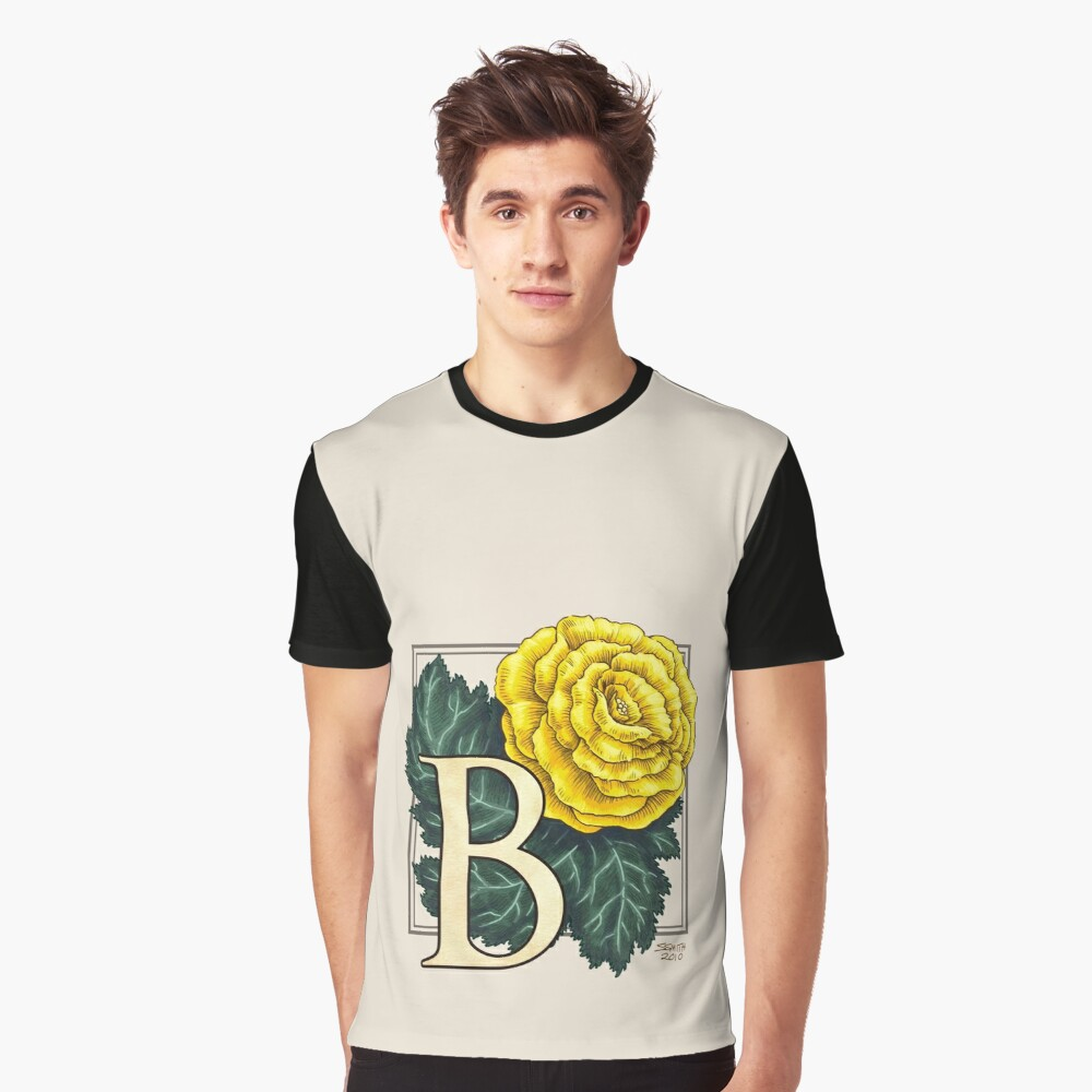 B is for Begonia Flower Monogram Graphic T-Shirt