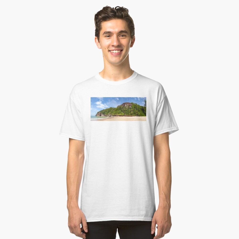 Exotic sand beach and cliffs with forest Classic T-Shirt