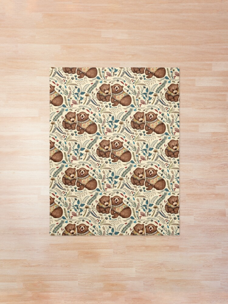 Alternate view of Whimsical Bear Pair with Fantasy Flora  Comforter