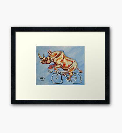 Rhino on a Bicycle Framed Print