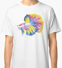 Siamese Fighting Fish | Betta splendens Yellow Blue Pink (White) Classic T-Shirt