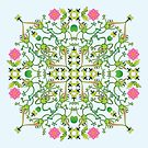 Funny green frogs hunting flies mandala design by Zoo-co