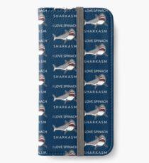 Funny Shark Pun - I Love Spinach Sharkasm iPhone Flip-Case/Hülle/Klebefolie