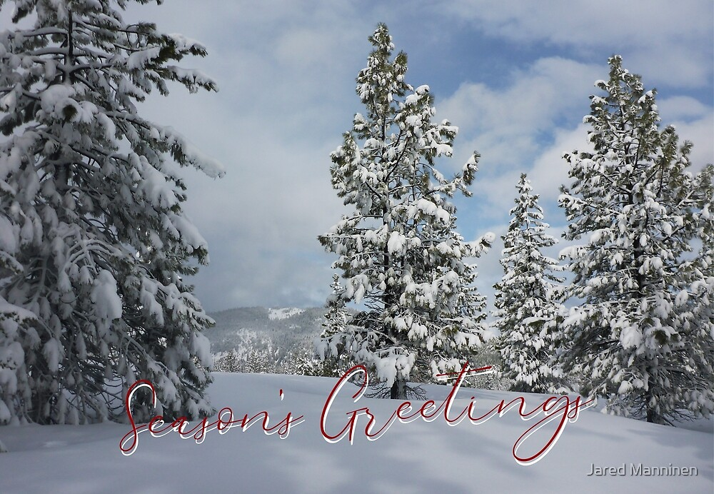 Mountains and Trees of Snow Holiday Card by Jared Manninen