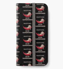 Naping Is My Superpower - Funny Sloth iPhone Flip-Case/Hülle/Klebefolie
