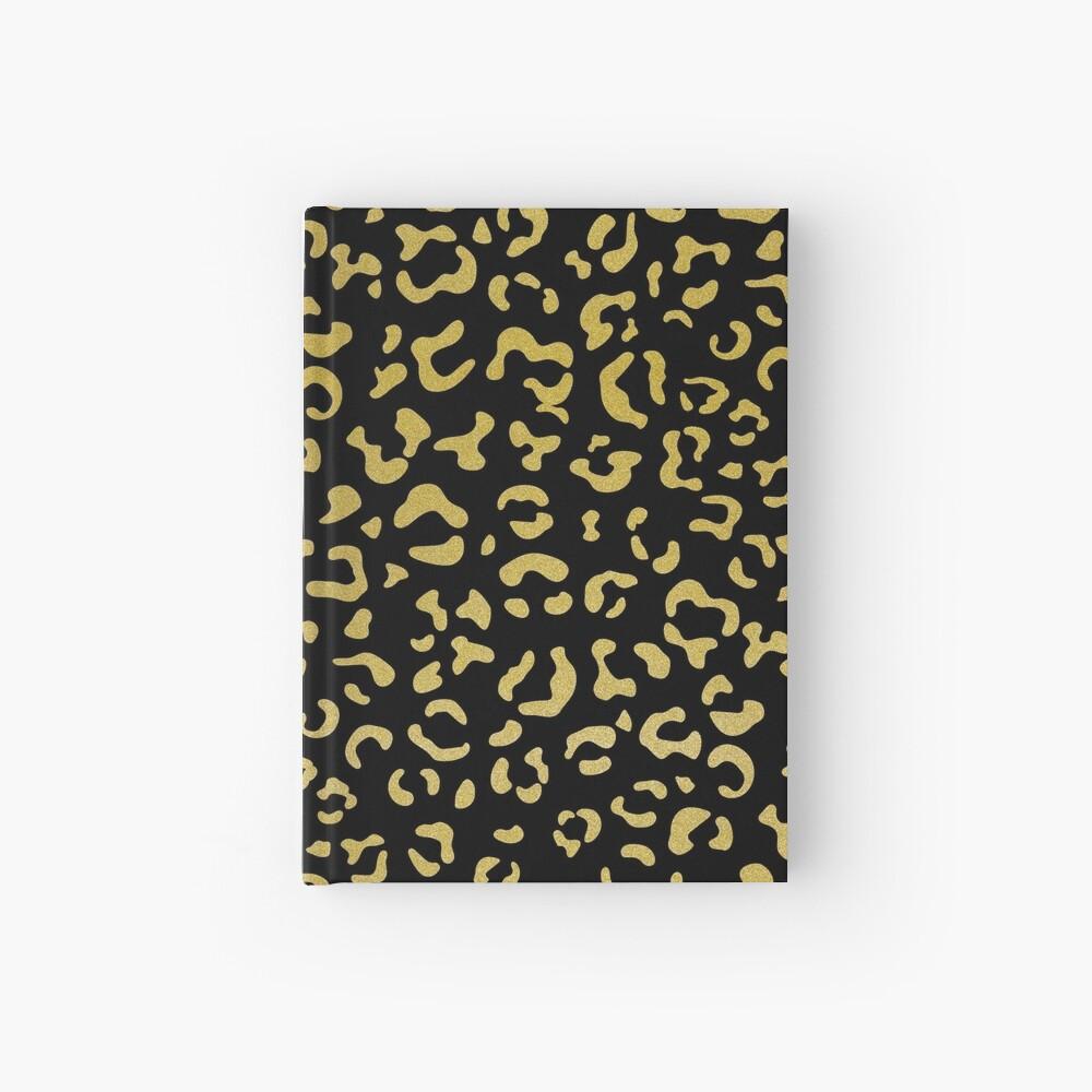 Animal Print, Leopard Spots, Glitter - Gold Black Hardcover Journal