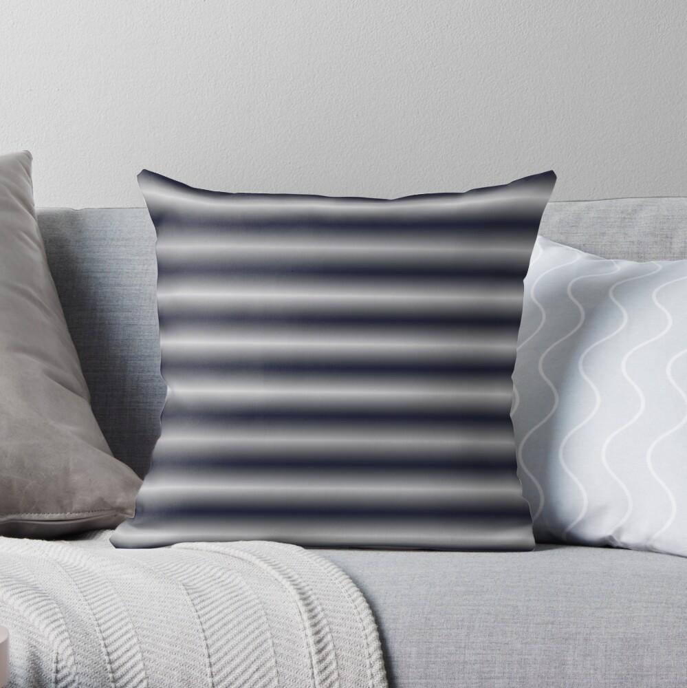 Vibrating Horizontal Bars - Blue Grey Throw Pillow