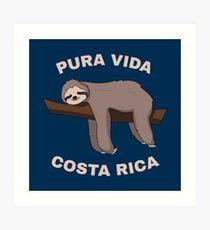 Pura Vida Costa Rica - Cool Costa Rica Sloth Kunstdruck