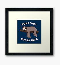 Pura Vida Costa Rica - Cool Costa Rica Sloth Gerahmtes Wandbild