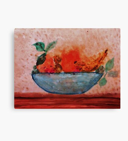 Antique look Bowl of Fruit, watercolor Canvas Print