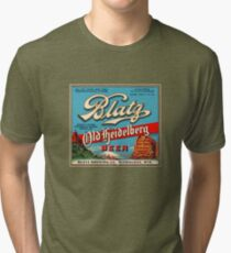 Blatz Old Heidelberg Vintage Beer Label Restored Tri-blend T-Shirt