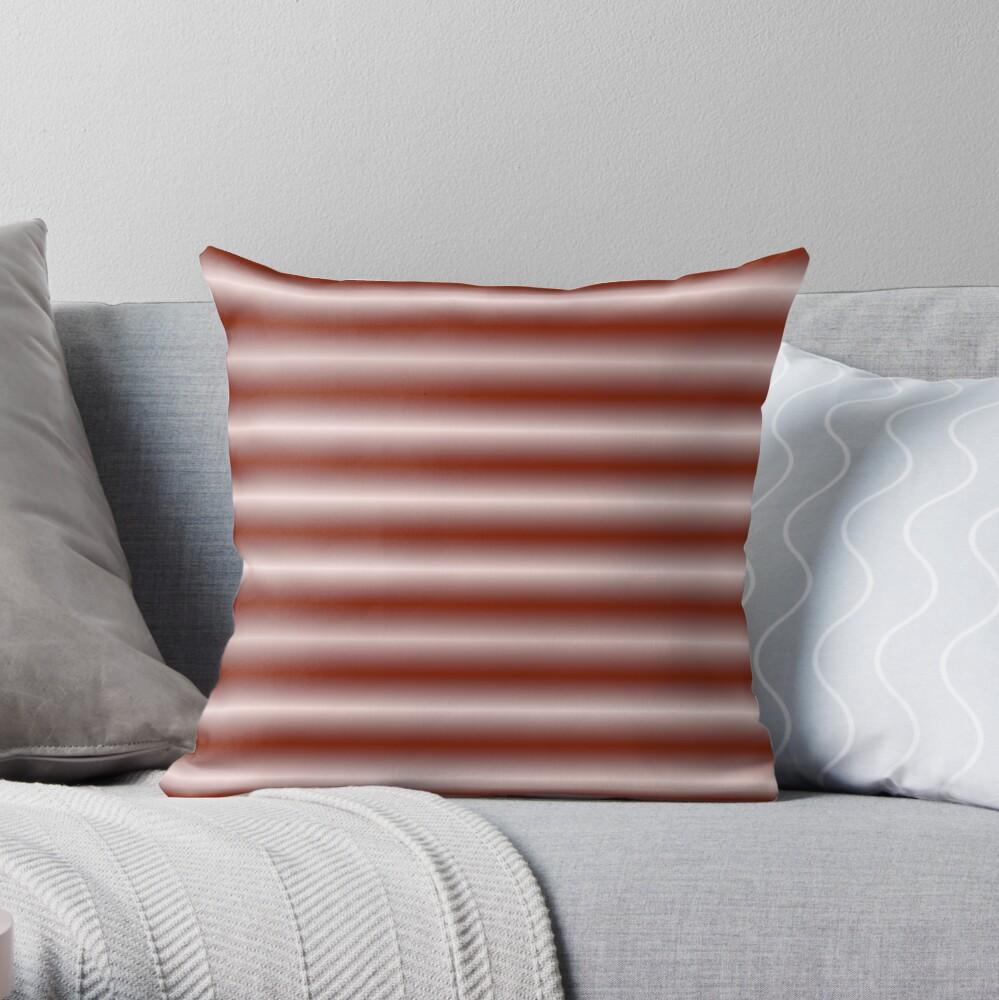 Vibrating Horizontal Bars - Red Orange Throw Pillow