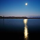 Dusk Moon Rising over Lake Hume by James Cole