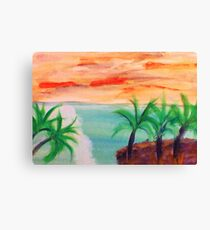 Islands with Palm Trees, watercolor Canvas Print