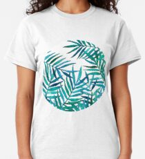 Watercolor Palm Leaves on White Classic T-Shirt