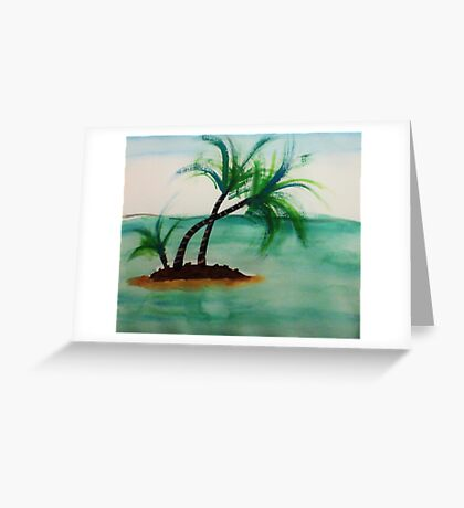 Small Island with Palm trees, watercolor Greeting Card
