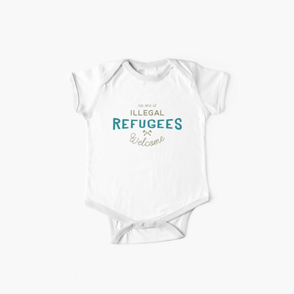 Flüchtlinge Willkommen Vintage Logo Baby Bodys