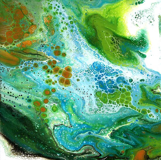Fluid Art In Orange, Green, Blue and White