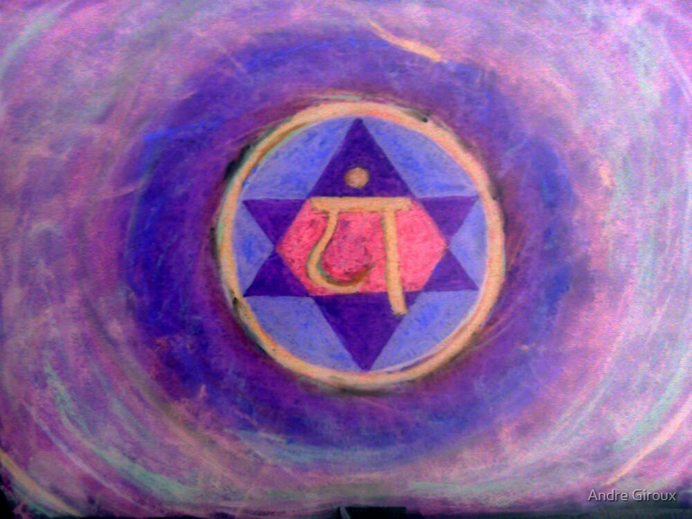 """""""Heart Chakra Revisited"""" Oil pastel on paper, 30"""" x 20"""" by Andre Giroux"""