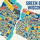 Green Bay Map Art - Multicolor by GBSwagShop