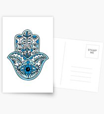 Blaues Hamsa Postkarten