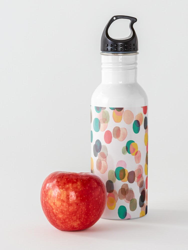 Alternate view of Tropical rain dots - Orange green yellow Water Bottle