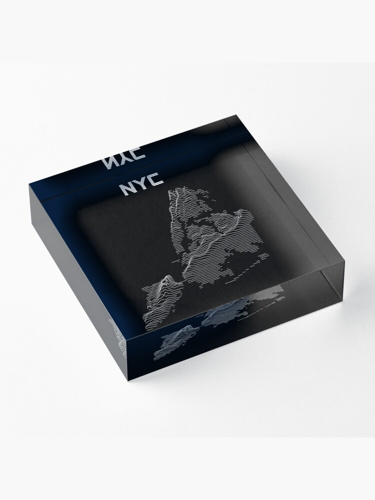 Alternate view of Joy Division Style NYC Elevation Map Acrylic Block