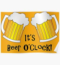 It's Beer O'Clock Funny Oktoberfest Frothy Pint Glasses Poster