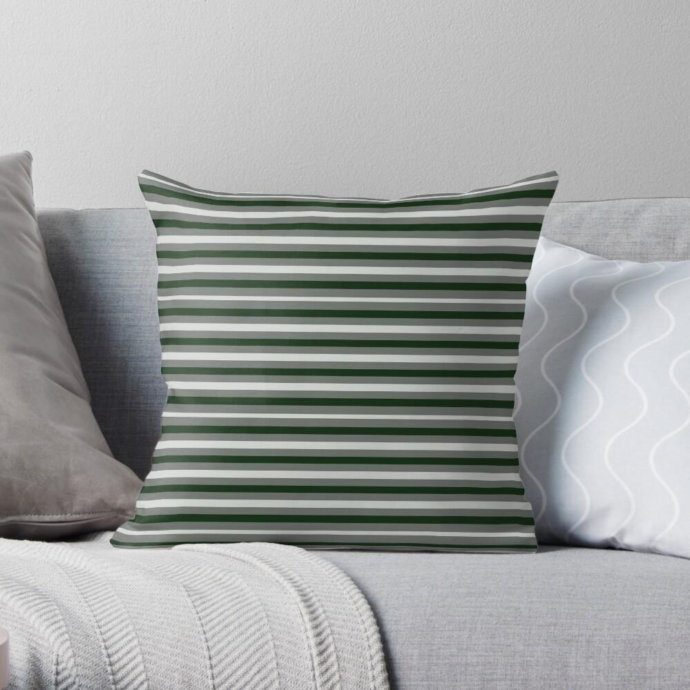Dinner Stripes - Deep Green Throw Pillow